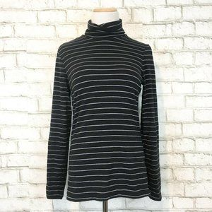 Lands End Women's Black Striped Mockneck Turtlenec
